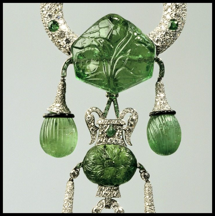 Detail: Marjorie Merriweather Post's Cartier pendant brooch with carved emeralds and diamonds, circa 1923.
