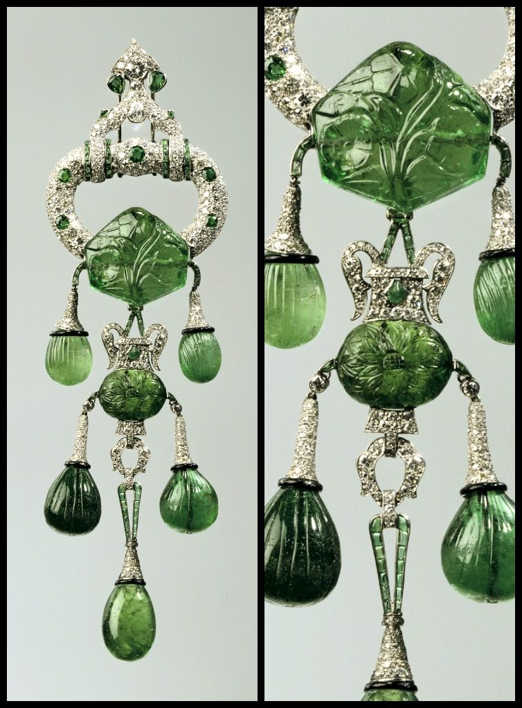 Marjorie Merriweather Post's Cartier pendant brooch with carved emeralds and diamonds, circa 1923.