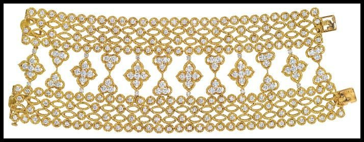 1970's Van Cleef & Arpels gold and diamond bracelet. Via Diamonds in the Library.