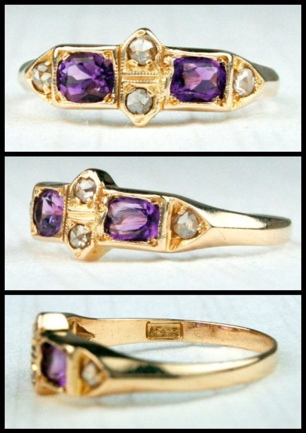 Victorian rose-cut diamond and amethyst ring in 15k gold with millegrain detail.