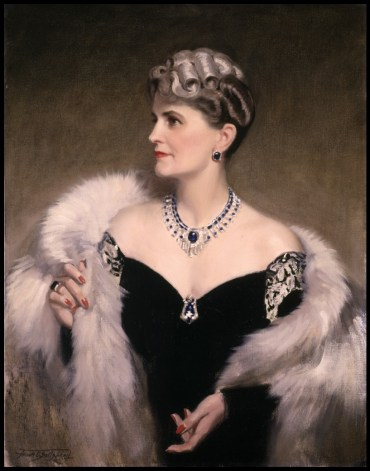 Marjorie Merriweather Post painted wearing her Cartier sapphire and diamond necklace. By Frank O. Salisbury, 1946.