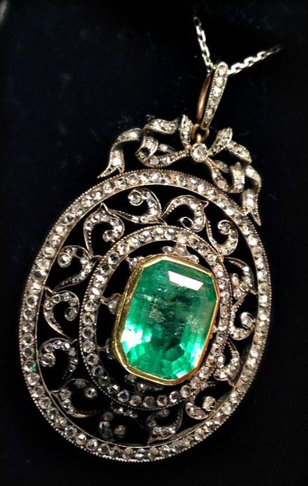 Antique emerald and diamond pendant at Chas Schwartz & Son. Via Diamonds in the Library.