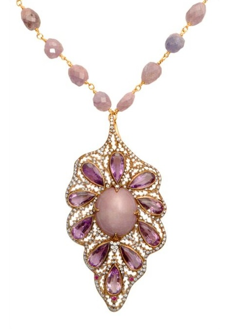 Detail - Cathy Waterman pink star sapphire and amethyst leaf necklace in 22k gold. Via Diamonds in the Library.