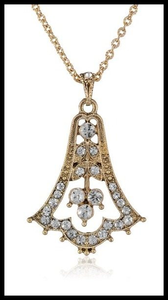 Downton Abbey gold-tone Edwardian style pendant necklace with rhinestones.