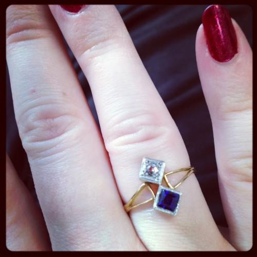 Edwardian sapphire, diamond, and gold ring.