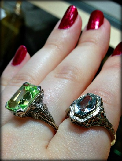 Two antique gemstone and filigree rings.