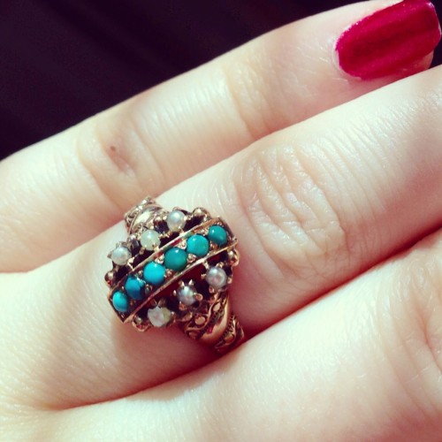 Victorian rose gold, turquoise, and pearl ring.