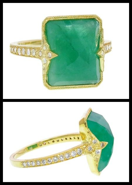6 carat emerald and diamond Itzela ring in gold by Ila&I.