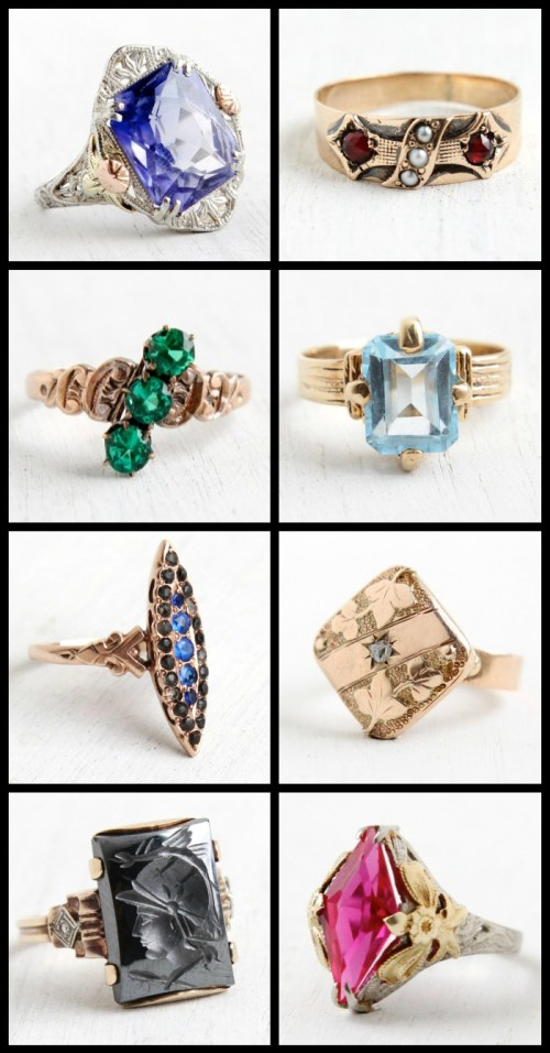 A selection of beautiful, unique antique rings at Maejean Vintage.