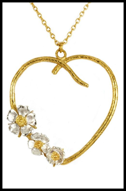 Alex Monroe Wild Rose Heart Necklace in white and yellow gold