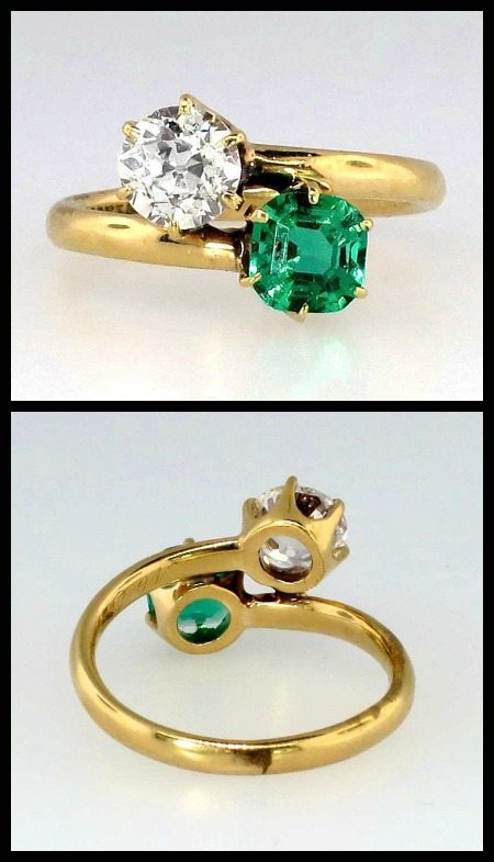 Art Deco 1920's emerald and diamond bypass or moi et toi ring by Tiffany and Co.