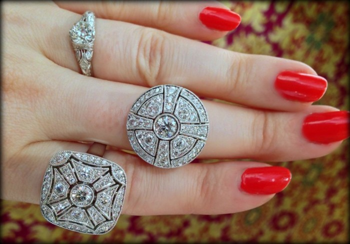 Fabulous Art Deco style diamond rings by Ziva