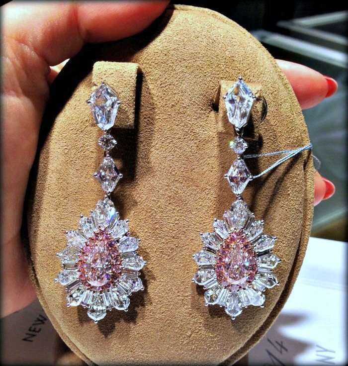 Fabulous David Mor diamond and pink diamond earrings.