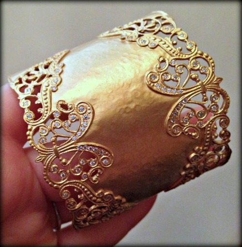 Gold and diamond lace cuff bracelet by H. Weiss.