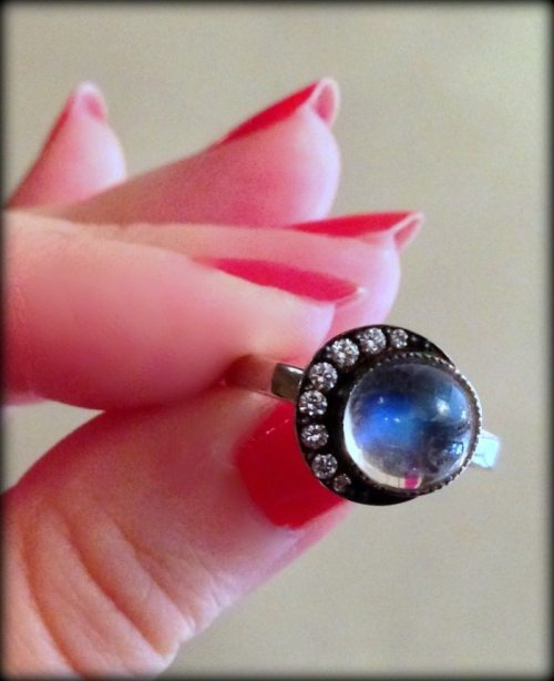 Lovely moonstone and diamond ring by Blackbird and the Snow.