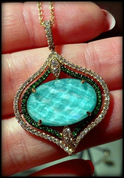 Pendant with amazonite diamonds and tsavorite garnets. From Doves by Doron Paloma.