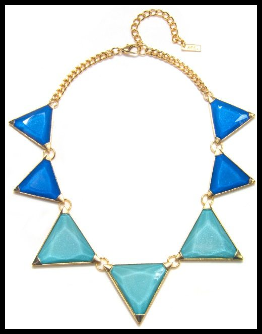 Piper Strand gold-plated Aztec Blue triangle necklace.