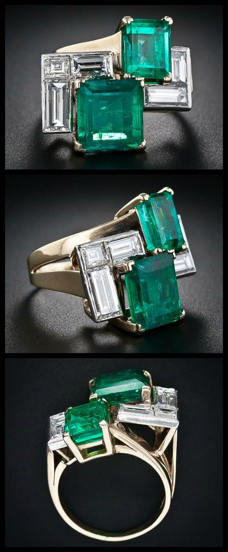 Retro emerald and diamond ring at Lang Antiques.