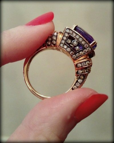 Rose gold, tanzanite, and diamond ring by LeVian.