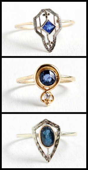 Three sapphire and diamond rings made from antique stick pins at Maejean Vintage
