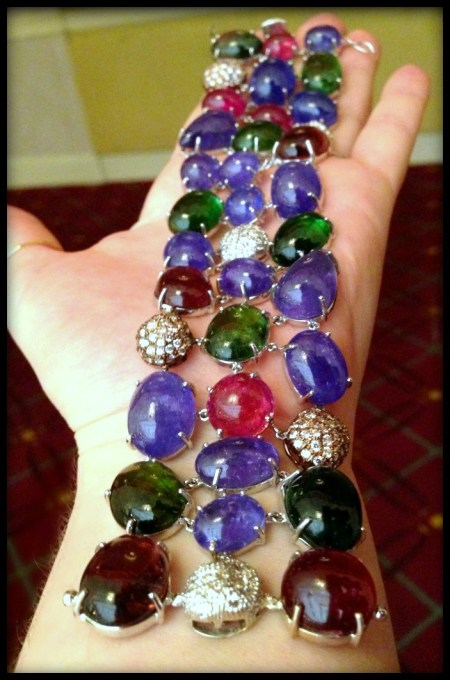 Glorious gemstone cabochon and diamond bracelet by Vivaan.