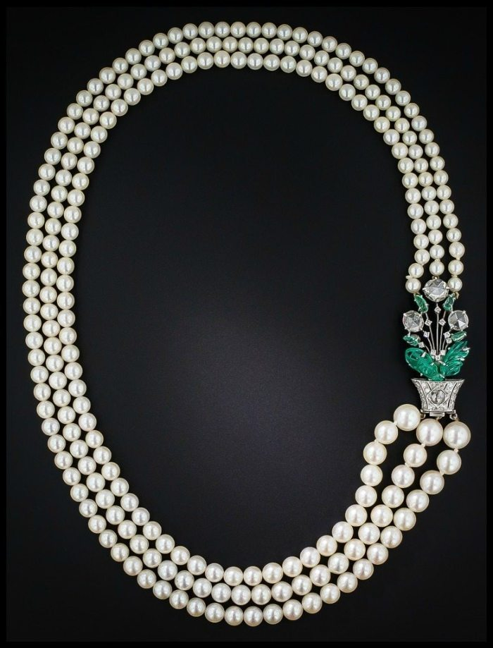 Art Deco Boucheron pearl necklace with carved emeralds and rose cut diamonds at Lang Antiques.