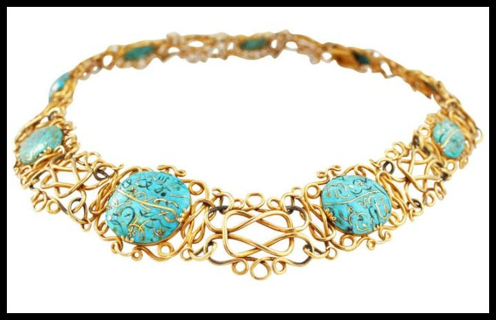 Art Nouveau gold inlaid Iranian turquoise necklace.