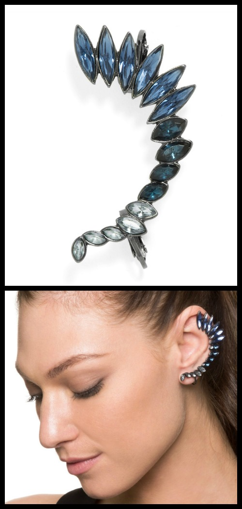 BaubleBar's Winged Crystal Ear Cuff.
