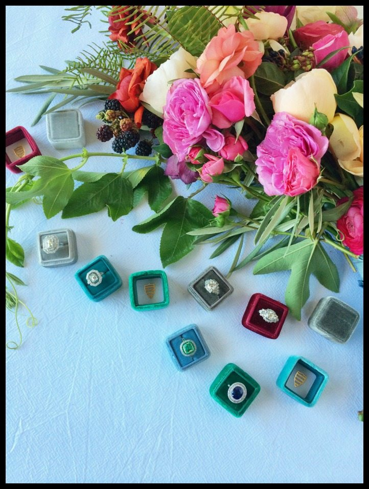 The Mrs. Box this luxe ring box comes in a rainbow of colors, all made from vintage French velvet.