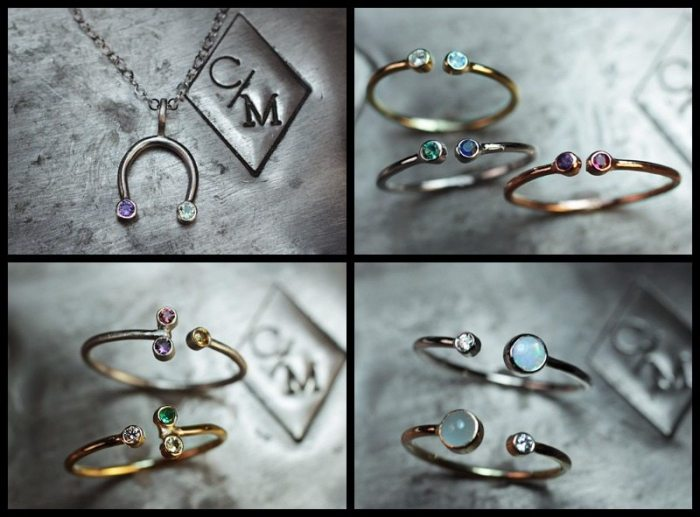 Variations on ChincharMaloney's birthstone rings and necklaces.
