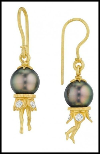 Anthony Lent Bosch Pearl Earrings - 18k Yellow Gold, Tahitian Pearls, Diamonds