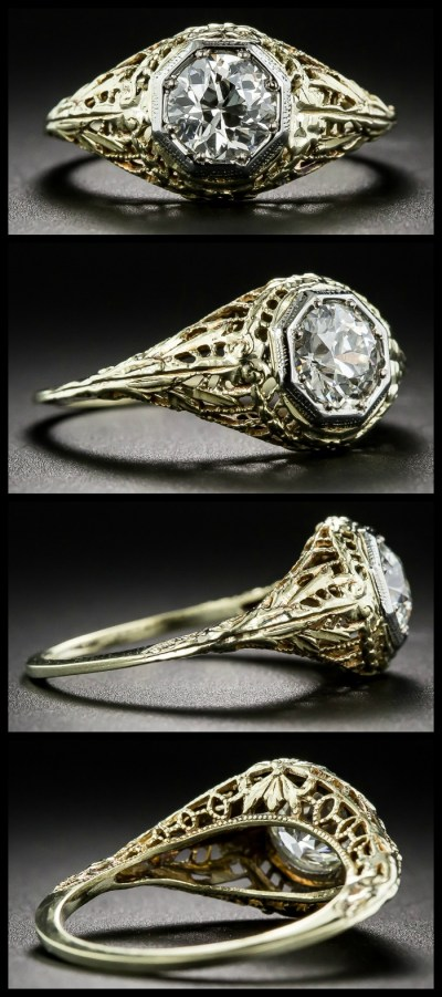 Antique Art Deco engagement ring with yellow gold filigree and an old European cut diamond in a platinum bezel. At Lang Antiques. .
