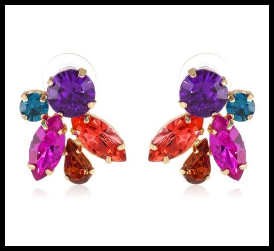 Betsey Johnson Carnival crystal cluster stud earrings ($30).