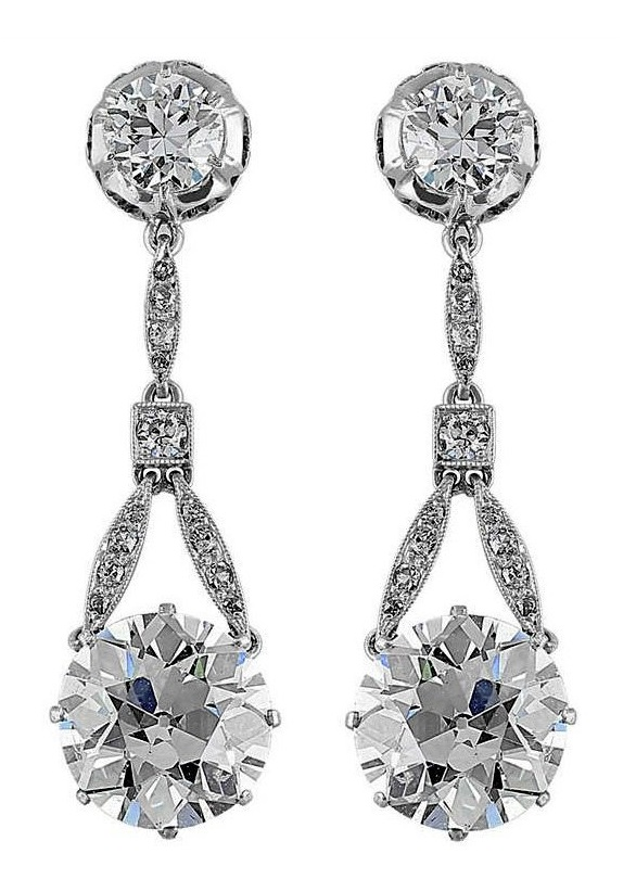 Edwardian 6.37 carat antique diamond drop earrings.