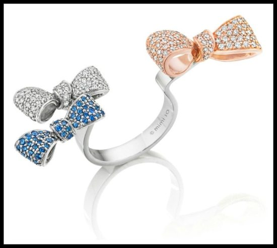 Fabulous between the finger bow ring by Mimi So, in sapphires, rose gold, and diamonds.