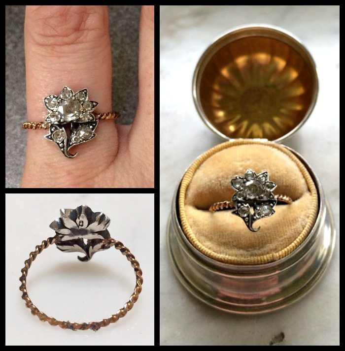 Georgian rose cut diamond flower ring, circa 1800's.