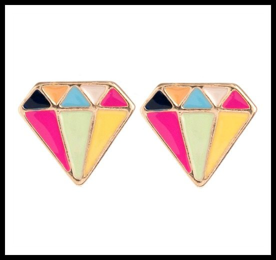 Piper Strand enameled diamond stud earrings.