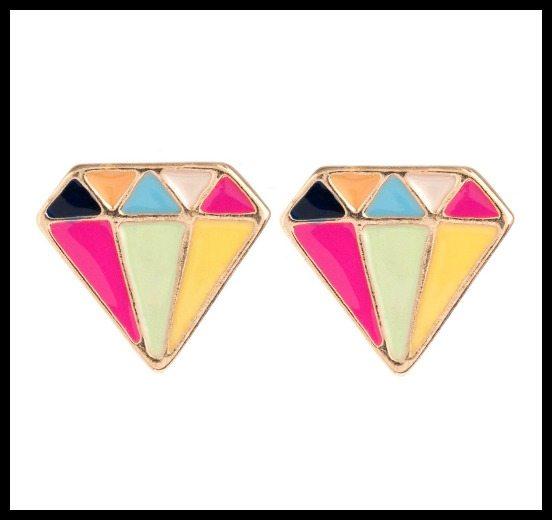 Piper Strand enameled diamond stud earrings.