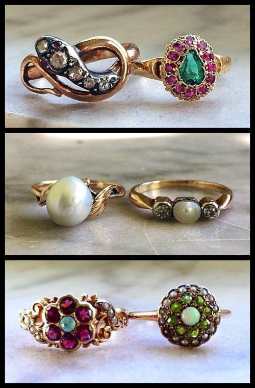 Six beautiful antique rings with pearls, diamonds, emeralds, garnets, opals, and rubies in gold.