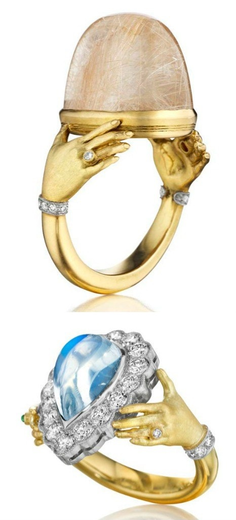 Two gold, gemstone, and diamond hand rings by Anthony Lent one with a rutilated quartz center stone, one with a moonstone.