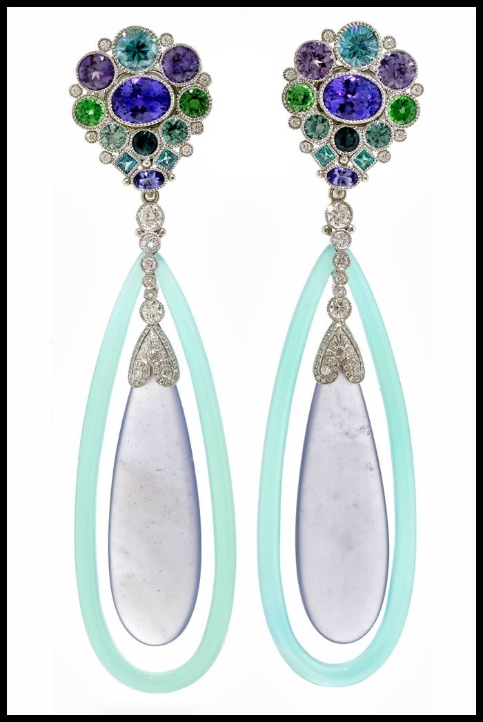 Anemone earrings by by Deirdre Featherstone of Featherstone Design. Featuring tanzanites, blue zircons, purple sapphires, tsavorite garnets, indigo-color tourmalines, Paraiba tourmalines, and diamonds.