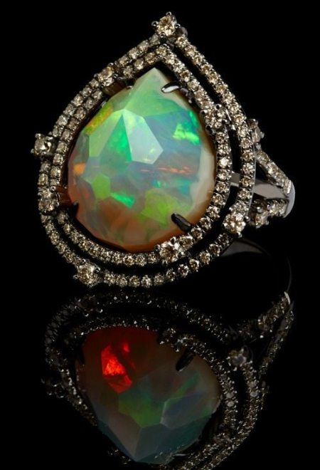 Annoushka Ethiopian opal ring with a 7.07 carat opal set in white gold and black rhodium with 1.16 carats of champagne diamonds.