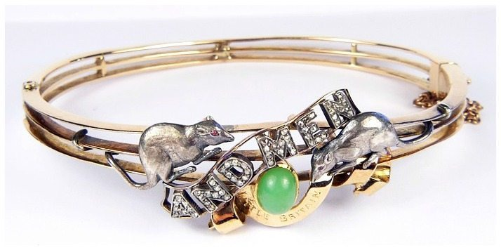 Antique Of Mice and Men bracelet with green jade, garnets, and rose-cut diamonds.