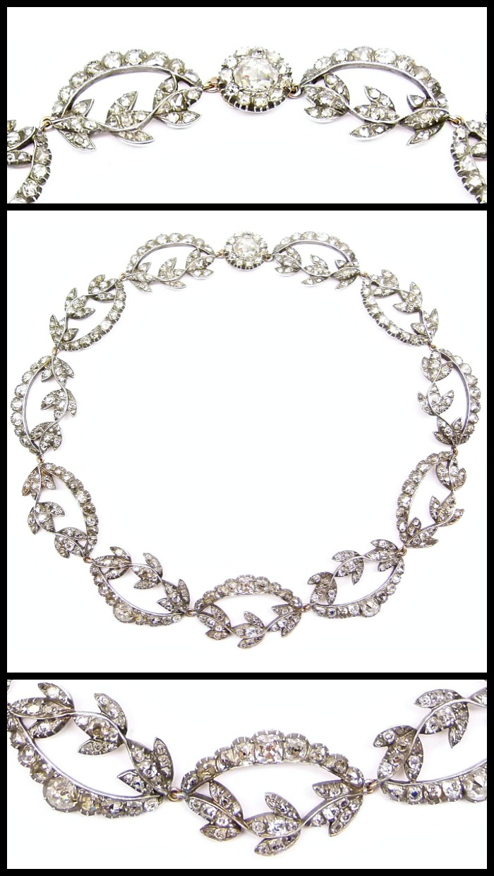 Zoom view: antique diamond necklace with rose and cushion cut diamonds, circa 1770.
