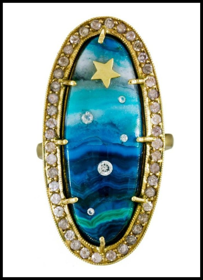 Diamond and chrysocolla shooting star ring by Andrea Fohrman; top view
