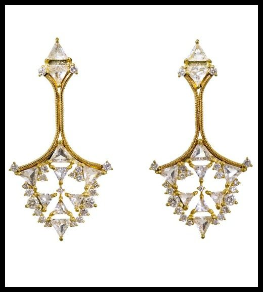 Fernando Jorge Diamond and Topaz Fusion Triangular Earrings.