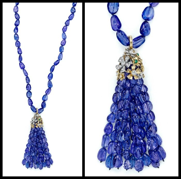 Full and detail views: Mimi So Couture tanzanite tassel necklace with emerald and diamond flowers in gold.