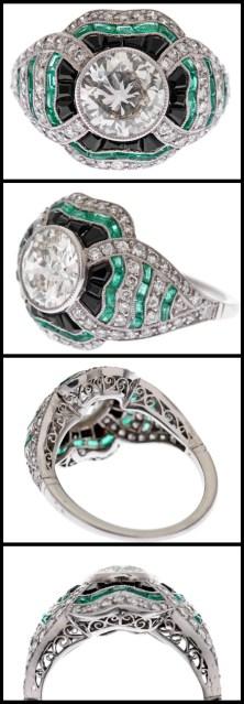 Art Deco-style diamond, emerald, and onyx ring.