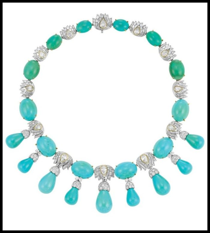 1950s turquoise and diamond necklace by Julius Cohen.