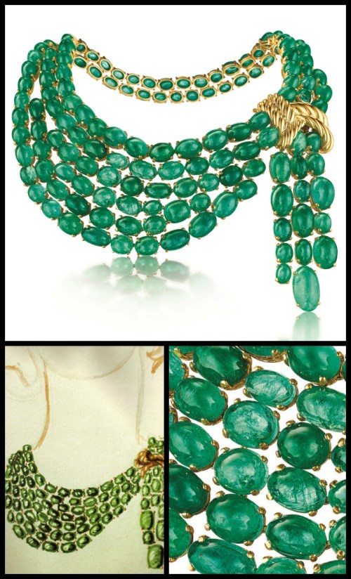 75th Anniversary Collection the Verdura emerald scarf necklace with original 1941 sketch and emerald detail